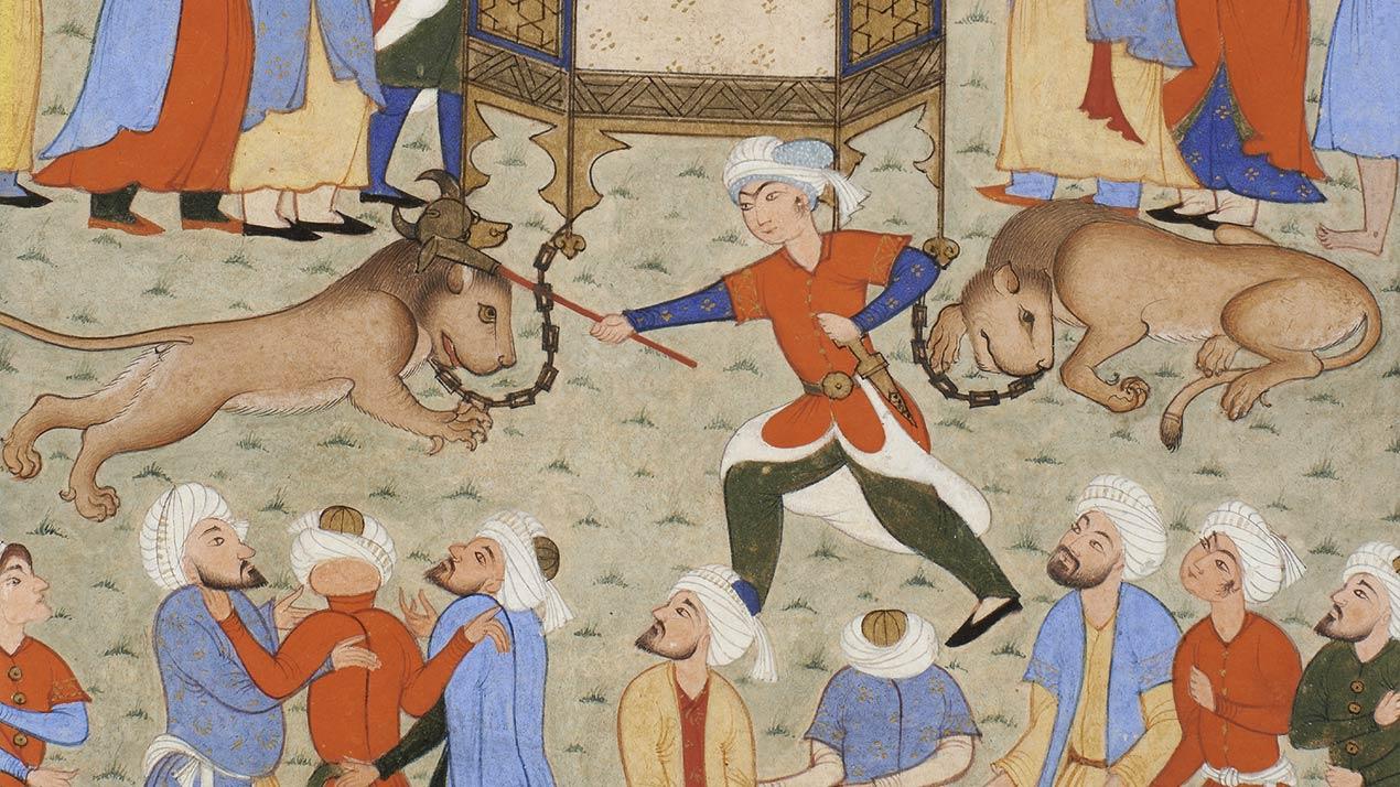 Bahram Gur terrassant deux lions