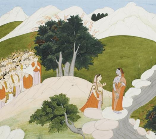 Miniature : L'apparition de Durga devant l'assemblée des dieux