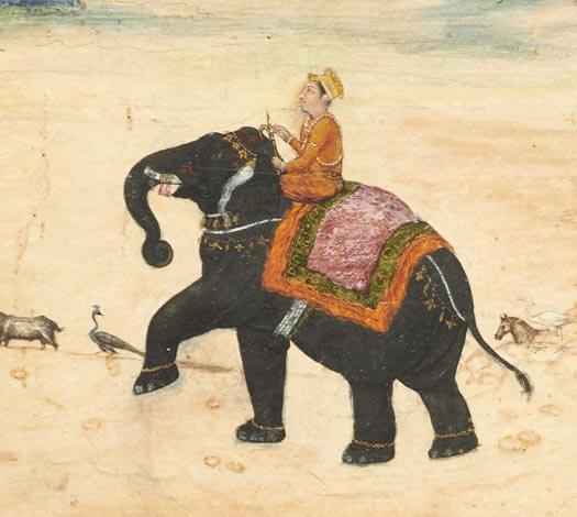 Détail miniature : Dignitaire mogol à dos d'éléphant