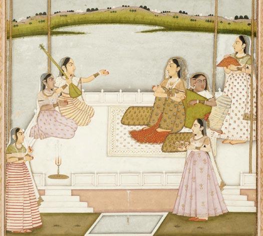 Miniature indienne : Princesse et musiciennes sur une terrasse au clair de lune