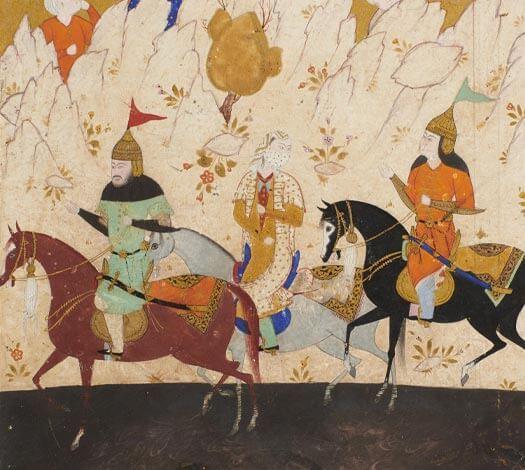 Détail miniature : Kay Khosrow, Farangis et Giv traversant le fleuve Oxus