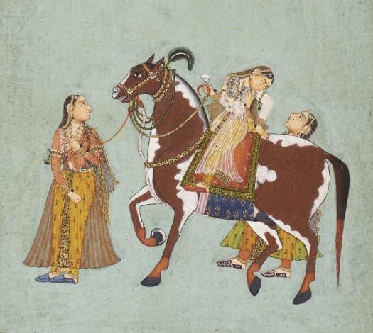 Détail miniature : Trois femmes et cheval à la robe pie