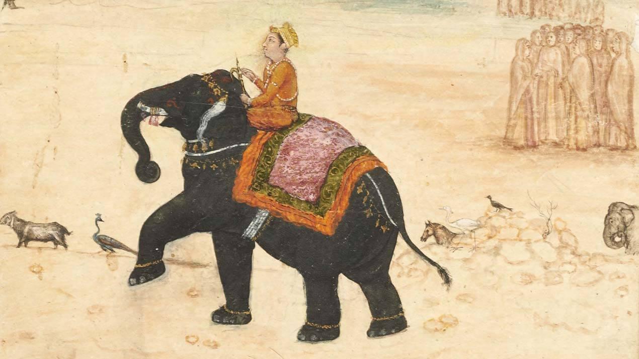 Miniature : Dignitaire mogol à dos d'éléphant