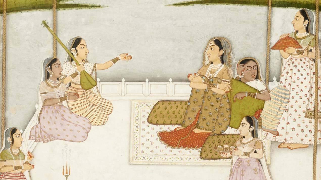 Miniature indienne représentant une princesse et des musiciennes sur une terrasse au clair de lune