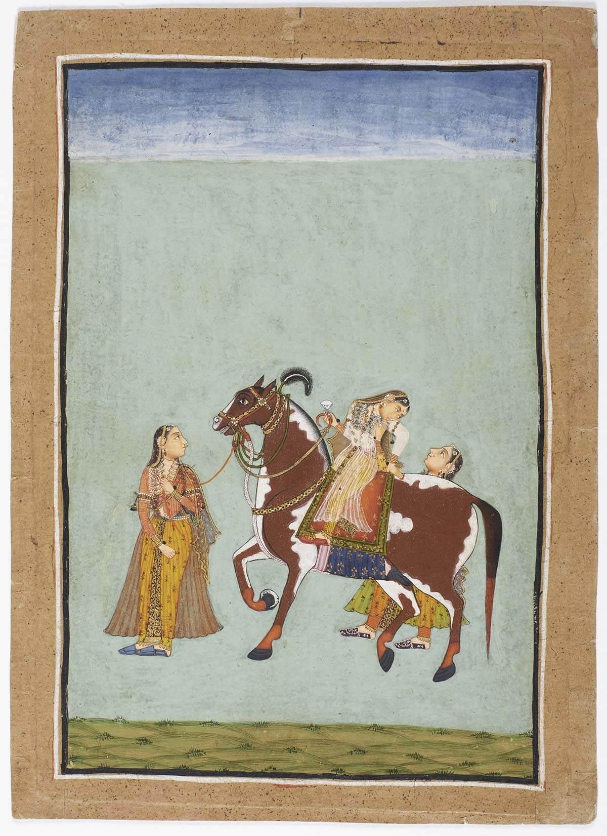 Trois femmes et cheval à la robe pie