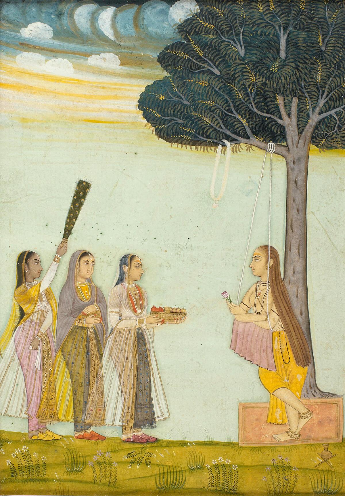 Trois femmes rendant visite à une yogini