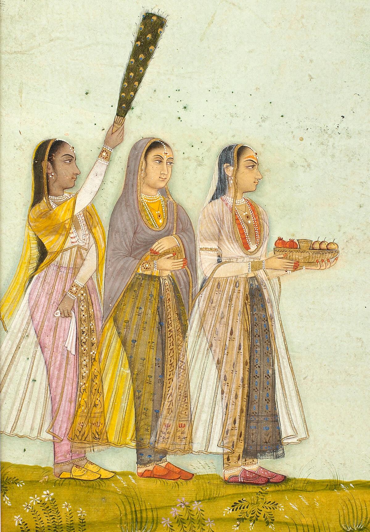 Trois femmes rendant visite à une yogini (détail)